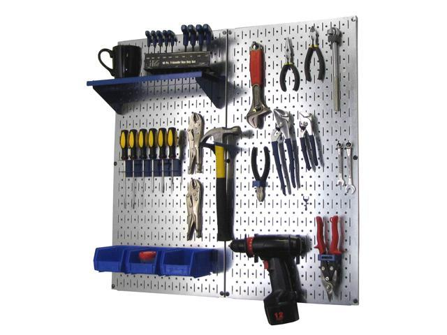 Wall Control Metal Pegboard Utility Tool Storage Kit - Galvanized Steel Pegboard & Blue Accessories