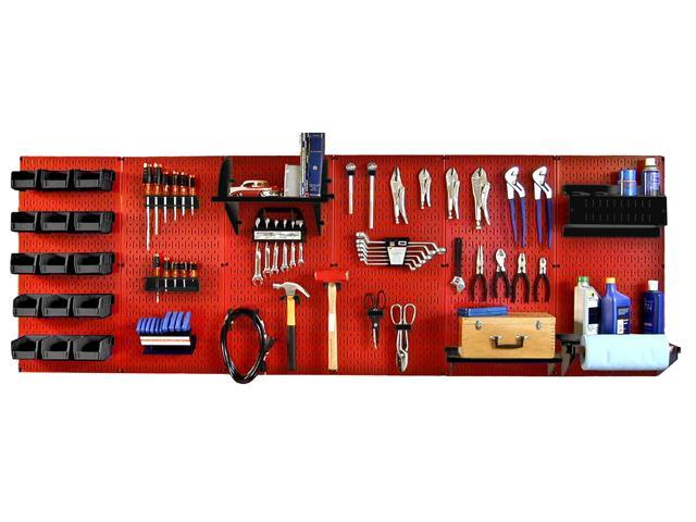 Wall Control 8ft Metal Pegboard Master Workbench Kit - Red Toolboard & Black Accessories