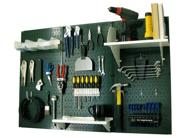 Wall Control 4ft Metal Pegboard Standard Tool Storage Kit - Green Toolboard & White Accessories