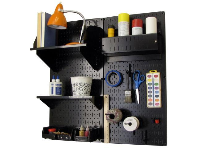 Wall Control Pegboard Hobby Craft Pegboard Organizer Storage Kit with Black Pegboard and Black Accessories
