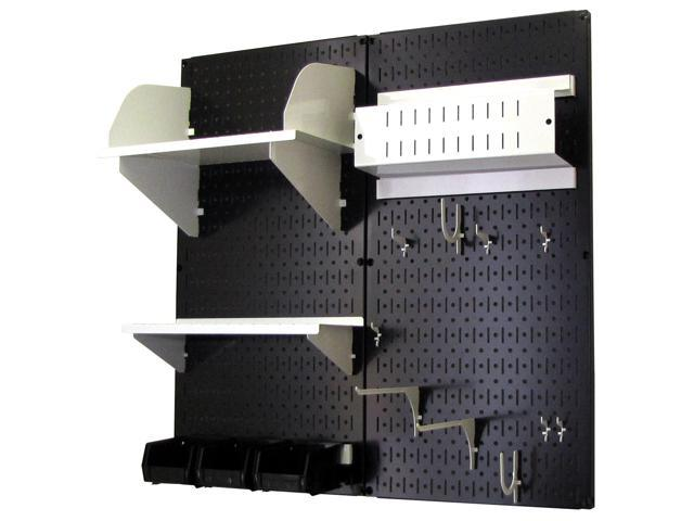 Wall Control Pegboard Hobby Craft Pegboard Organizer Storage Kit with Black Pegboard and White Accessories