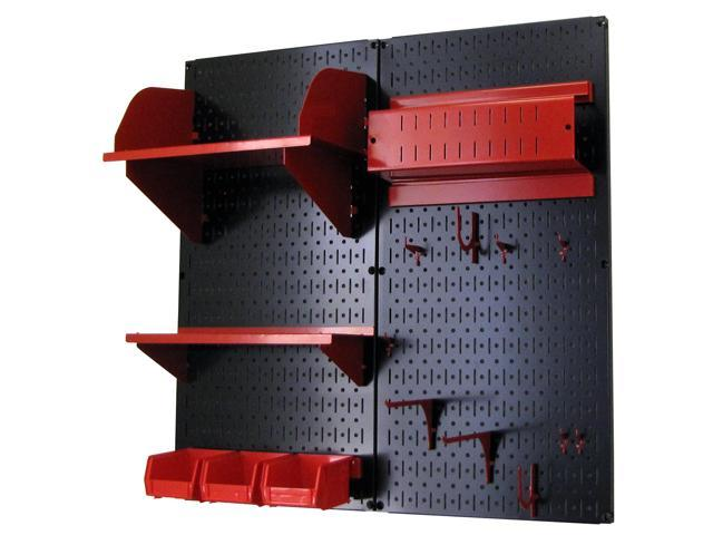 Wall Control Pegboard Hobby Craft Pegboard Organizer Storage Kit with Black Pegboard and Red Accessories