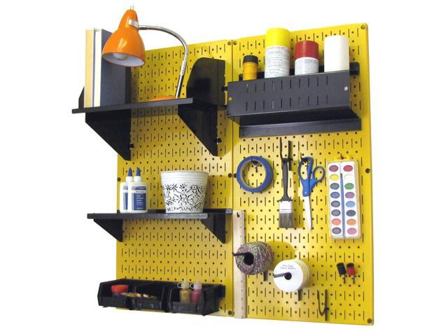 Wall Control Pegboard Hobby Craft Pegboard Organizer Storage Kit with Yellow Pegboard and Black Accessories