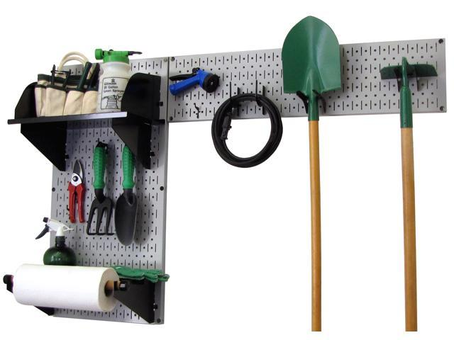 Wall Control Pegboard Garden Tool Board Organizer With Gray Pegboard And Black Accessories