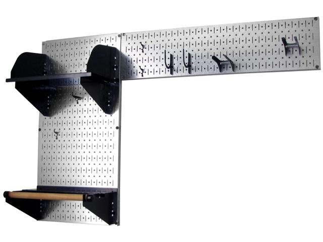 Wall Control Pegboard Garden Tool Board Organizer With Metallic Galvanized Steel Pegboard And Black Accessories