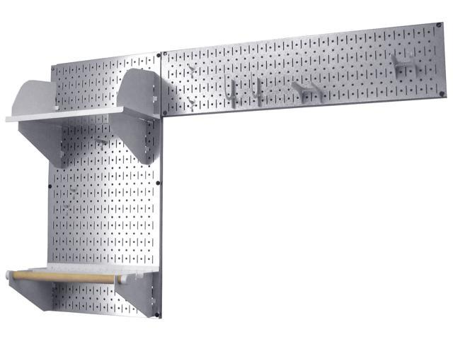 Wall Control Pegboard Garden Tool Board Organizer With Metallic Galvanized Steel Pegboard And White Accessories