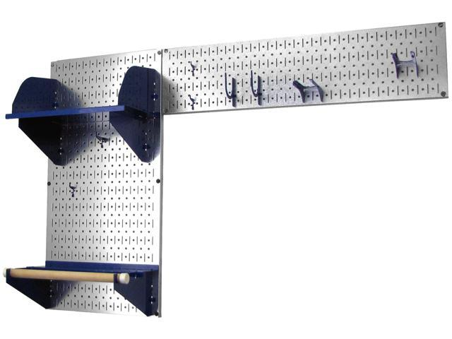 Wall Control Pegboard Garden Tool Board Organizer With Metallic Galvanized Steel Pegboard And Blue Accessories