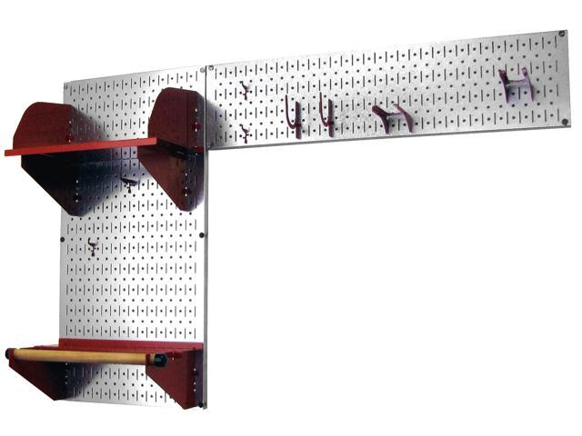 Wall Control Pegboard Garden Tool Board Organizer With Metallic Galvanized Steel Pegboard And Red Accessories