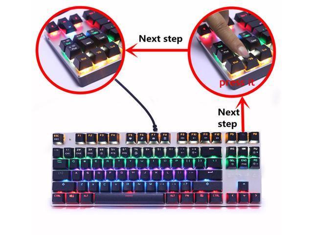 Wanmingtek USB Wired Gaming Keyboard 87 Keys Red Switch Mechanical Gaming Keyboard,  with LED Mix-light Anti-ghosting Blacklit for Gamer Tablet Desktop Computer-Black