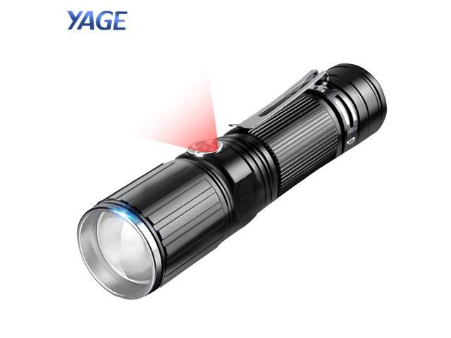 YAGE Flashlight T6 2000LM Zoomable CREE LED 18650 White/Red Flashlight USB Torch Light for 18650/ 4*AAA/1*26650 Battery 342C
