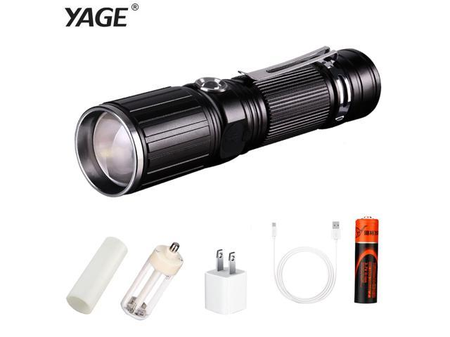 YAGE Flashlight T6 2000LM Aluminum Zoom CREE LED 18650 White/Red Flashlight USB Torch Light with 18650/4*AAA/1*26650 Battery 342