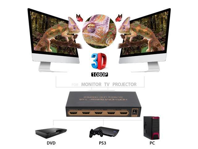 HDMI 2.0 Splitter 1x4 Awakelion 4 Way Splitter Premium Quality 4K x 2K/60Hz HDR HDCP2.2 (1 Input 4 Outputs) HDMI Splitter V2.0 and AC Power adapter - OEM