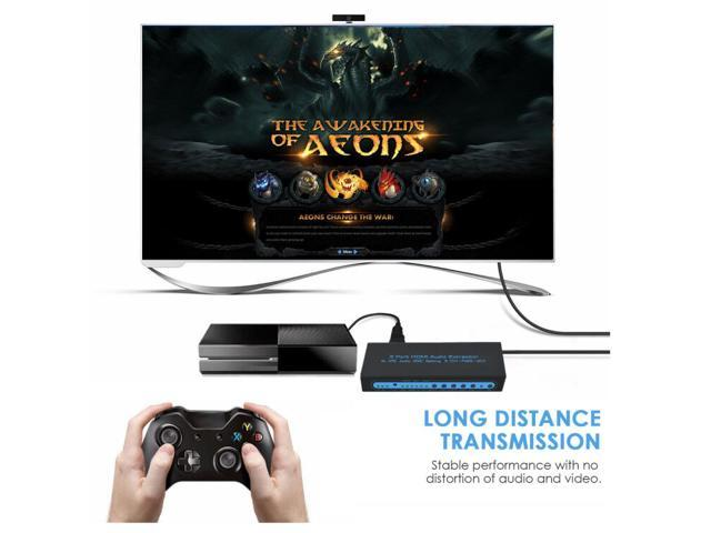 4K@30Hz HDMI 1.4 Switch 3x1 with Optical SPDIF & RCA L/R Audio Out, FiveHome 3 In 1 Out HDMI Audio Extractor Splitter with Remote, Supports ARC, 4Kx2K, Ultra HD