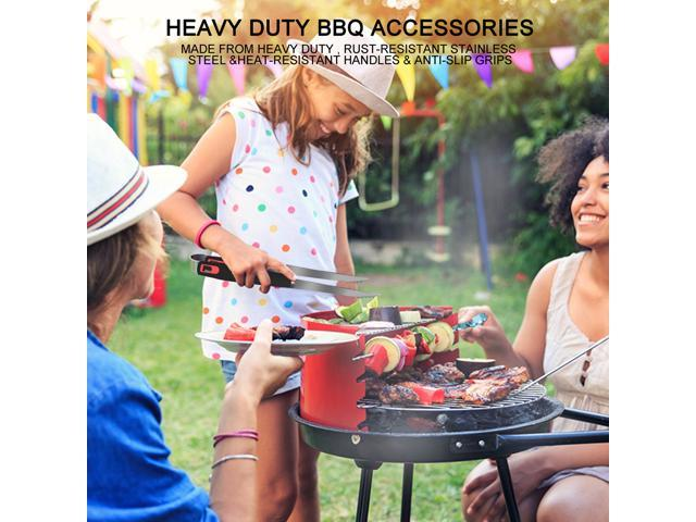 BBQ Grill Tools Set 4-Piece,Premium Extra Thick Stainless-Steel Grill Tools with Heat-resistant Plastic Handle