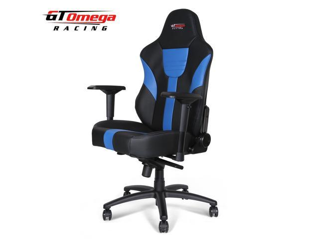 GT Omega MASTER XL Racing Gaming Office Chair Black and Blue Leather