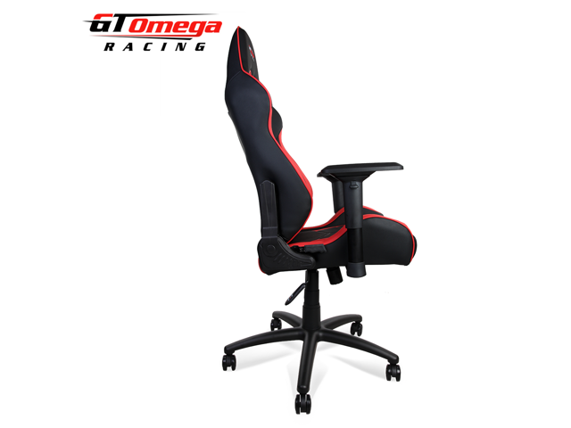 GT Omega ELITE Racing Office Gaming Chair Black And Red Leather