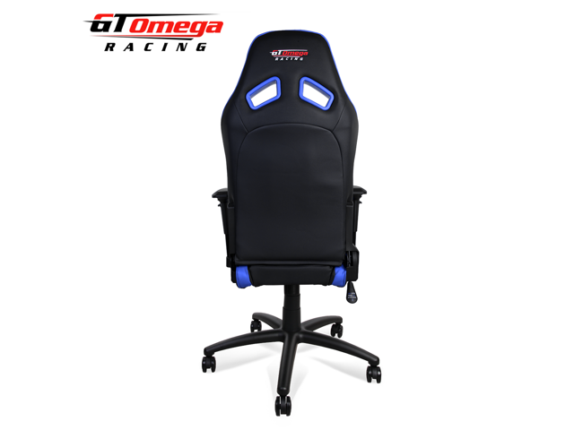 GT Omega ELITE Racing Office Gaming Chair Black And Blue Leather