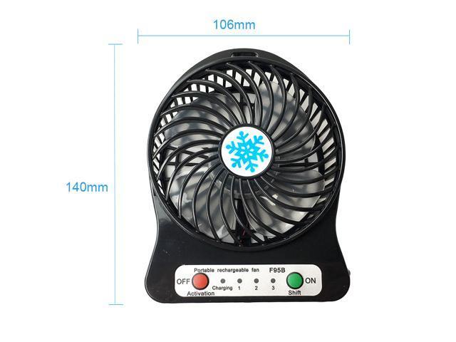 Portable Rechargeable LED Light Fan Air Cooler Mini Desk USB Fan