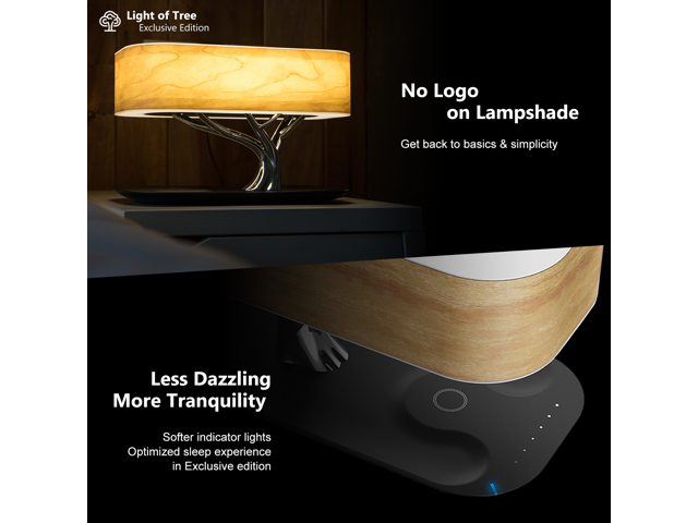 Ampulla Light of Tree Bedside Lamp with Bluetooth Speaker and Wireless Charger, Sleep Mode Stepless Dimming - OEM