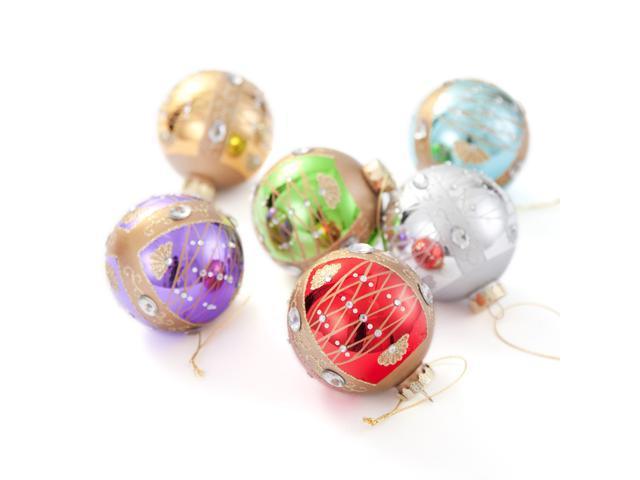 Comix Christmas Tree Rhinestone/jeweled Embellished Glass Ball Ornaments - 6 Pack