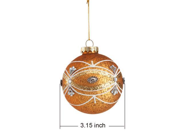 Comix Christmas Tree Rhinestone/jeweled Embellished Glass Speckled Ball Ornaments - 6 Pack