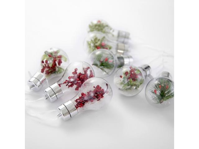 Comix Christmas Tree LED Bulb Clear Ornaments Filled with Holiday Flowers and Pine - 8 Pack