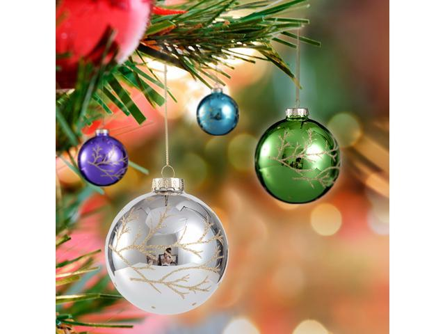 Comix Christmas Tree Glittering Branch Embellished Ball Ornaments - 4 Pack