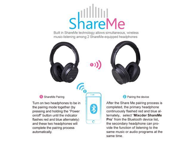 Mixcder Over Ear Headphones, Upgraded ShareMe Pro Wireless/Wired Headsets with Microphone , Music Streaming Stereo Sound Bluetooth Headphone for iPhone 7/7 plus/6s/6, iPad, iPod, Samsung,PC,TV