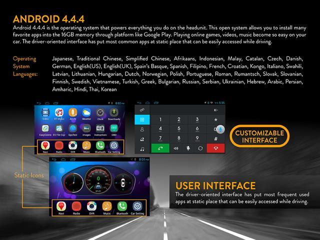 7 inch Universal Android Quad Core Full Touch Screen Headunit + Wifi + GPS + Bluetooth + AM/FM + MP3/4/5 + USB port + Aux Input + Subwoofer Output + Video Out x 2