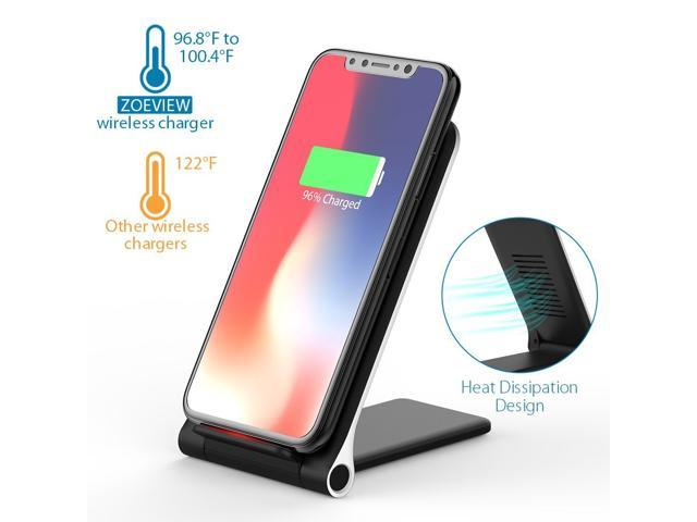 Wireless Charger, YXwin Qi 10W Fast Ultra-thin Foldable Wireless Charger Charging Pad Stand (No AC Adapter) for Samsung S9/S9+/S8/S8+/S7/Note 8, Standard Qi for iPhone X, iPhone 8/8 Plus