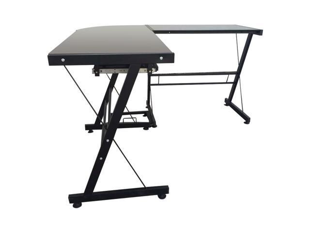 L-shaped Toughened Glass Computer Desk Black
