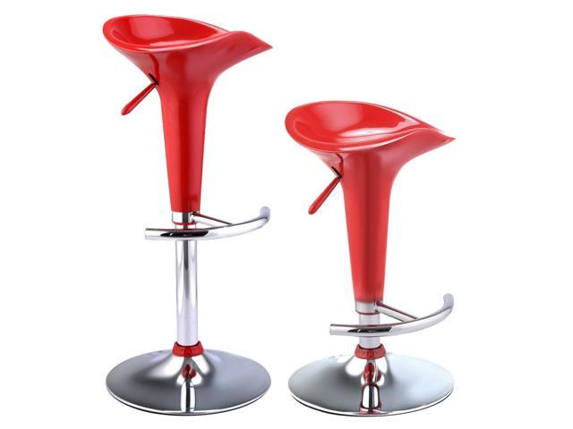 New Modern Swivel Bar Stools 2 Pcs Red Bombo Chair Pub Barstool Chrome Ktichen