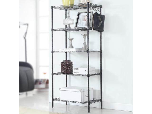 Heavy Duty 5 Layer Wire Shelving Rack Adjustable Shelf Storage Black