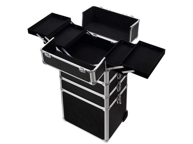Pro Aluminum Rolling Makeup Cosmetic Wheeled Box Organizer Trolley - Aluminum trolley case pro rolling makeup cosmetic organizer