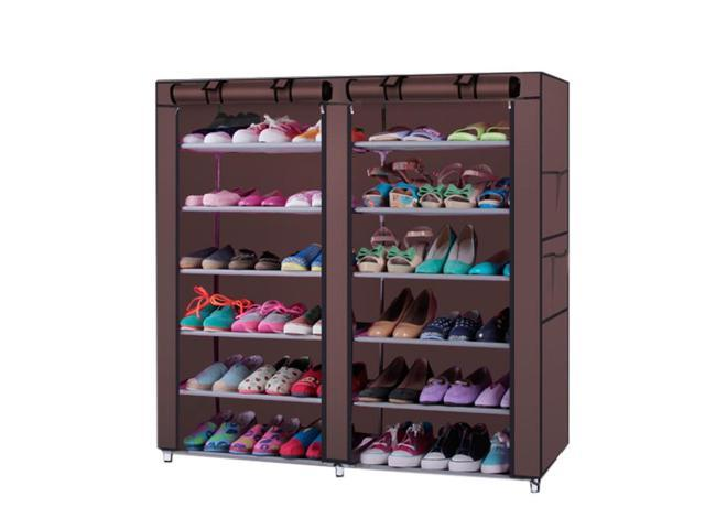 New 6 Row 2 Line 12 Lattices Shoe Cabinet Rack Shoes Stand Storage  Organizer ...