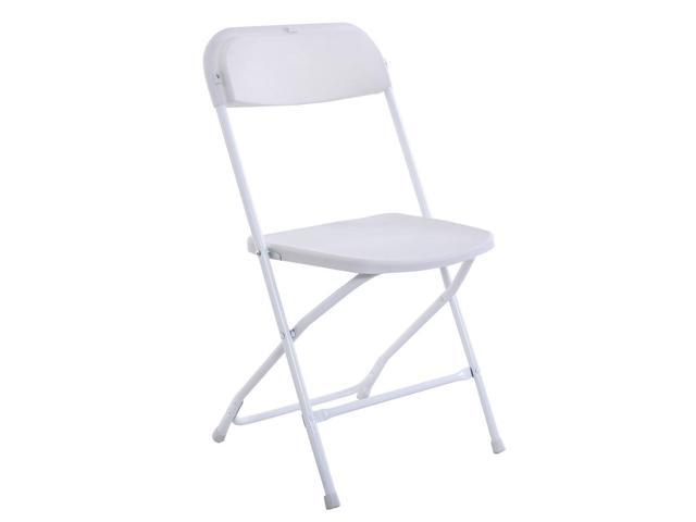 New Hot Set Of 5 Commercial White Plastic Folding Chairs Stackable Picnic  Party ...