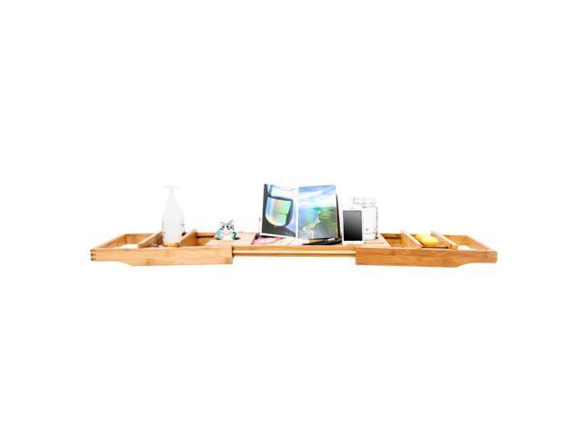 Bathtub Rack Bamboo Shelf Shower Tub Book Tray Stand Expandable ...