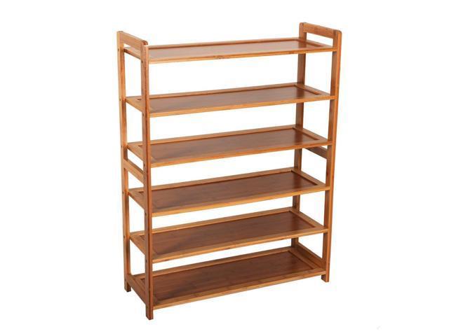 6 Tier Portable Nature Bamboo Shoe Storage Organizer Wardrobe Shoe Rack Shelves