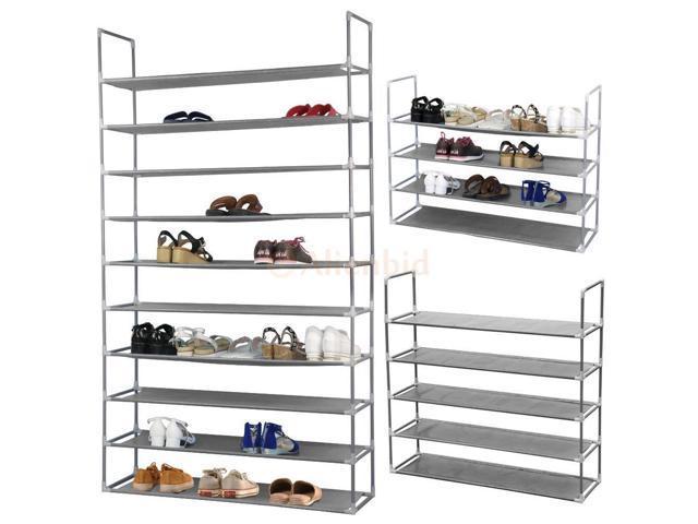 50 Pair 10 Tier Space Saving Storage Organizer Shoes Tower Rack Free Standing