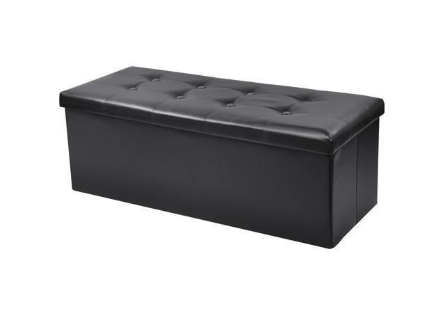 Folding Storage Bench Ottoman Seat Footstool Faux Leather Home Organizer Black