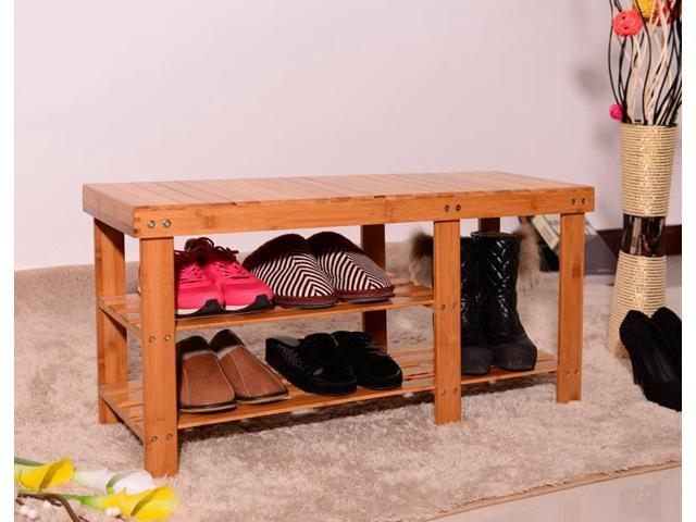Shoe Storage Bench Seat Organizer Entryway Wood Furniture Shelf Rack  Hallway ...