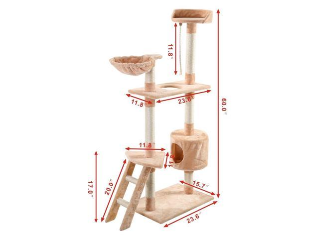 "60"" Kitten Pet Tree House Hammock Condo Scratcher Furniture Play Toy Cat Tree"