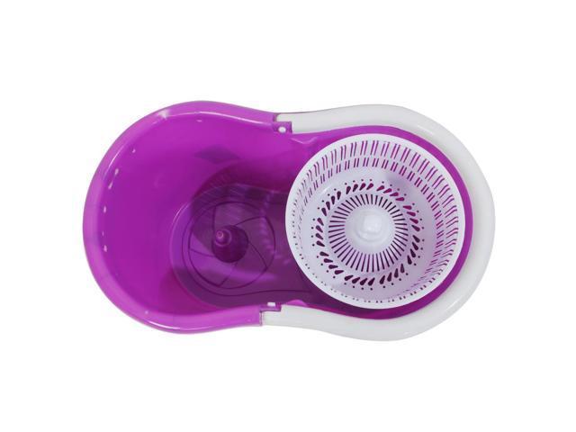 Easy Magic Floor Mop 360??Bucket with 2 Heads Microfiber Rotating Head Purple