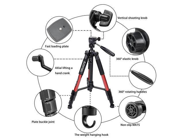 4-Section Column Non-slip rubber Leg ZOMEI Q111 Tripod Red for DSLR Camera