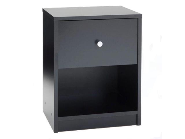 Modern Nightstand Set Black End Table Bedroom Furniture Shelf Drawer Storage