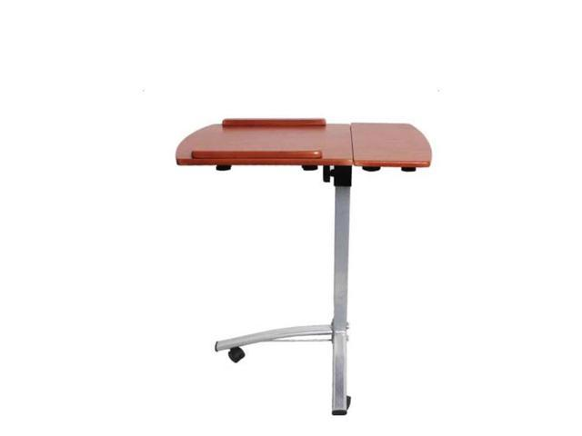 Adjustable Angle Height Rolling Laptop Desk Cart Bed Hospital Table Brown