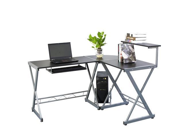 L-Shape Corner Home Office Computer Desk PC Laptop Table Workstation & Top Shelf