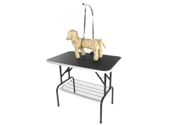 "32"" Foldable Pet Grooming Table with Mesh Tray and Adjustable Arm Silver Base"