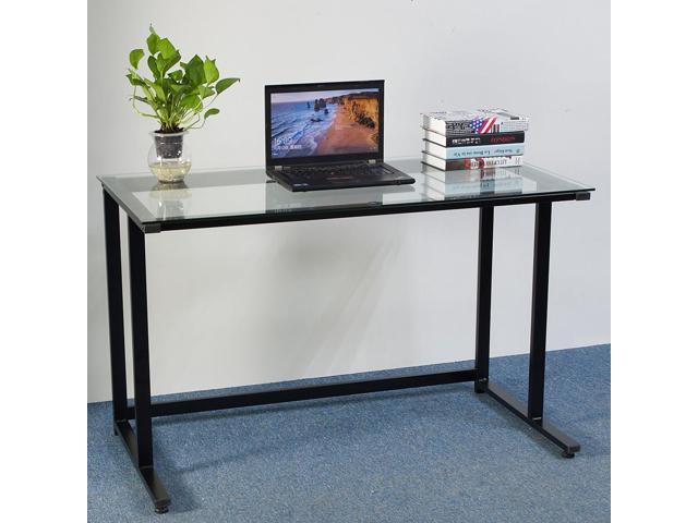 Simple Transparent Glass Computer Desk Laptop Table Workstation Home Office  New ...