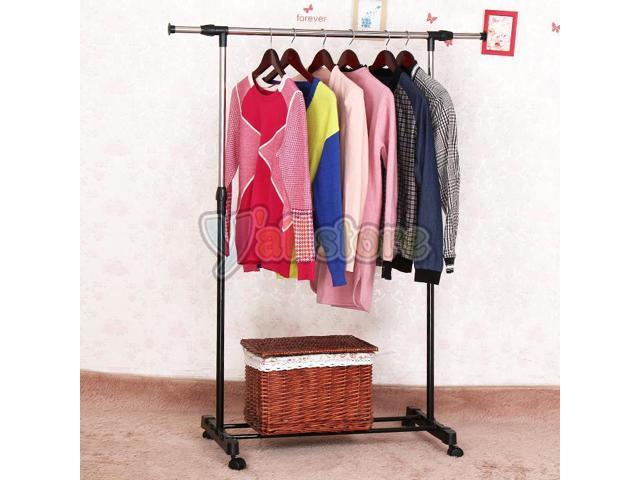 Adjustable Rolling Clothes Rack Single-Bar Hanging Garment Heavy Duty Hanger